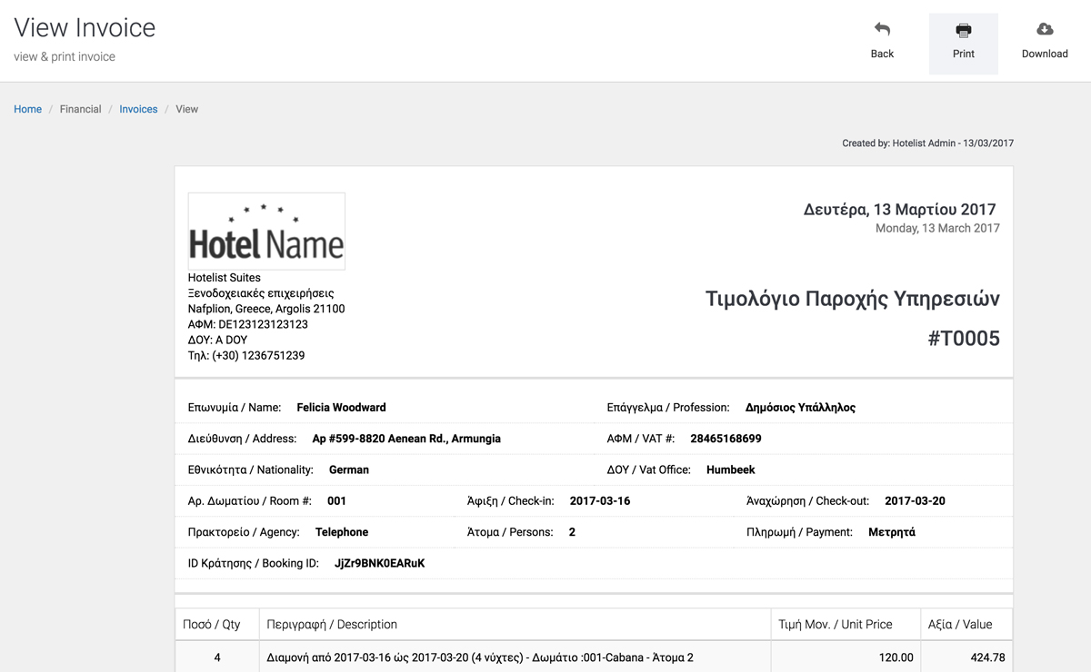 Invoice Receipt Issuing And Management Hotelist Pms